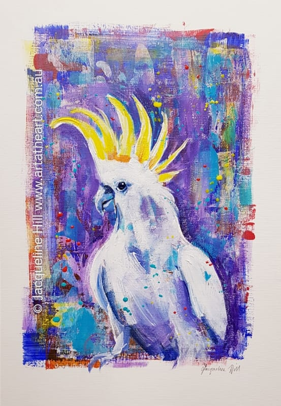 "DA249 ""Cocky Fella"" (Sulpur-crested cockatoo)  Original Acrylic Painting apx 30x43cm by Jacqueline Hill"