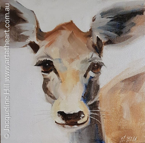 "DA253 ""Dear Little Deer II"" Original Oil Painting apx 8x8"" / 20cm sq plus frame by Jacqueline Hill"