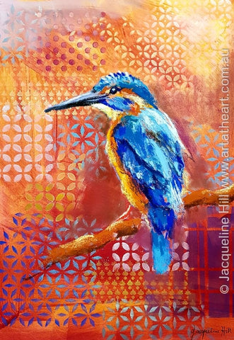 "DA281 ""Azure Kingfisher"" Original Mixed Media Painting apx 29x42cm by Jacqueline Hill"