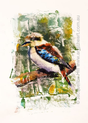 "DA282 ""Kookaburra"" Original Mixed Media Painting apx 29x42cm by Jacqueline Hill"