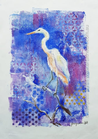 "DA284 ""White Heron"" Original Mixed Media Painting apx 29x42cm by Jacqueline Hill"