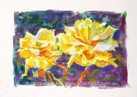 "DA285 ""Mum's Yellow Roses"" Original Mixed Media Painting apx 42x29cm by Jacqueline Hill"