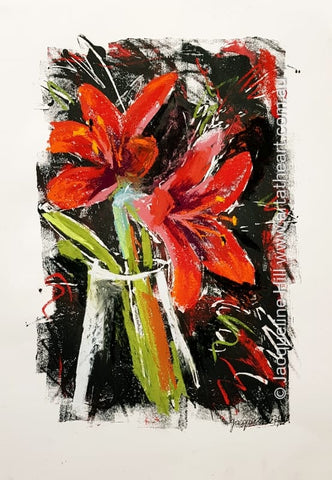 "DA286 ""Red Hippies"" (hippeastrum flowers) Original Mixed Media Painting apx 29x42cm by Jacqueline Hill"
