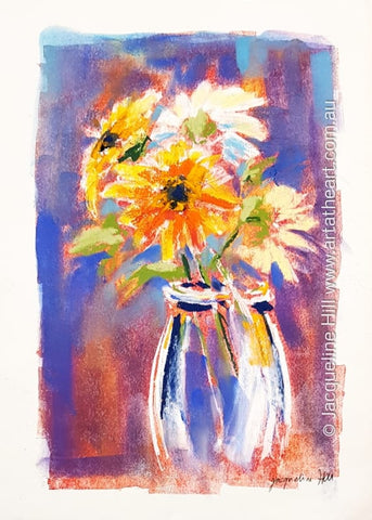 "DA287 ""Gerbera Smiles"" Original Mixed Media Painting apx 29x42cm by Jacqueline Hill"