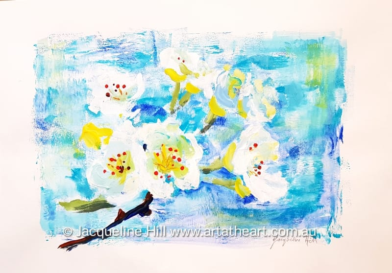 "DA291 ""Apple Blossoms"" Original Acrylic Painting by Jacqueline Hill"