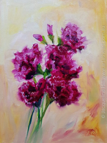"DA301 ""Crimson Carnations"" Original Oil Painting apx 30x40cm by Jacqueline Hill"