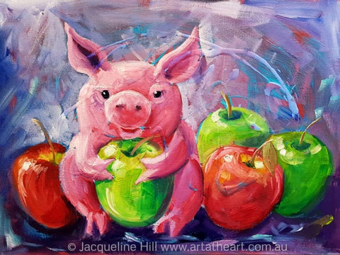 "DA302 ""Happy As"" (a pig in apples) Original Acrylic and Oil Painting apx 40x30cm by Jacqueline Hill"