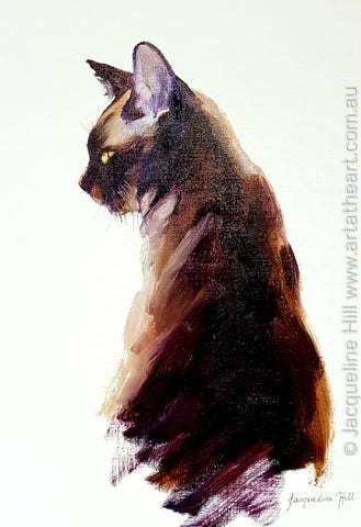 "DA305 ""Forgotten Gods"" (Gaia the Burmese gallery cat) Original Oil Painting by Jacqueline Hill"