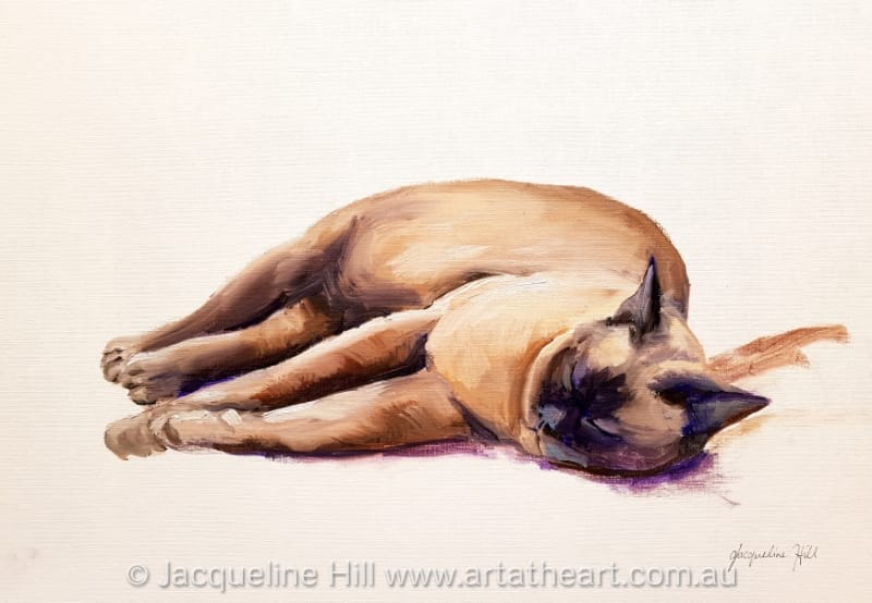 "DA308""Butter Wouldn't Melt"" (Gaia the Burmese gallery cat) Original Oil Painting by Jacqueline Hill"