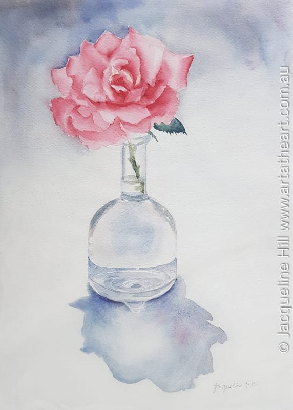"DA311 ""Rose in a Glass Vase"" Original Watercolour Painting by Jacqueline Hill"