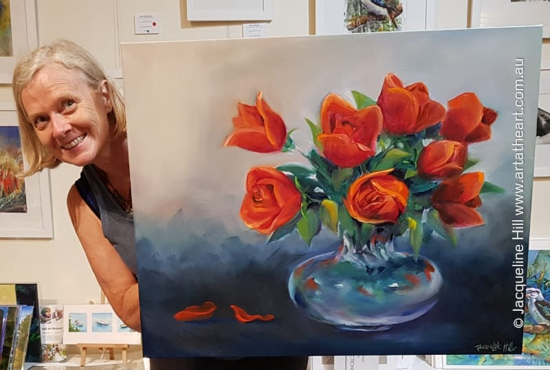"DA314 ""Tulip Roses"" Original Oil Painting by Jacqueline Hill"
