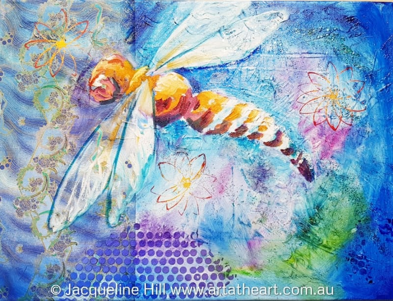 "DA318 ""Dragonfly"" Original Mixed Media Painting by Jacqueline Hill"
