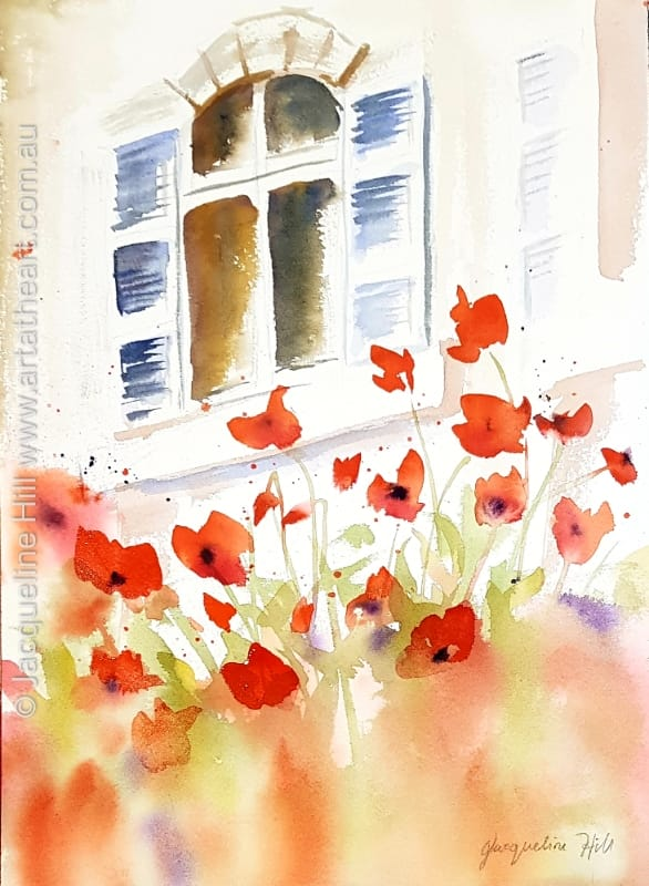"DA326 ""Poppy Garden II"" Original Watercolour Painting by Jacqueline Hill"