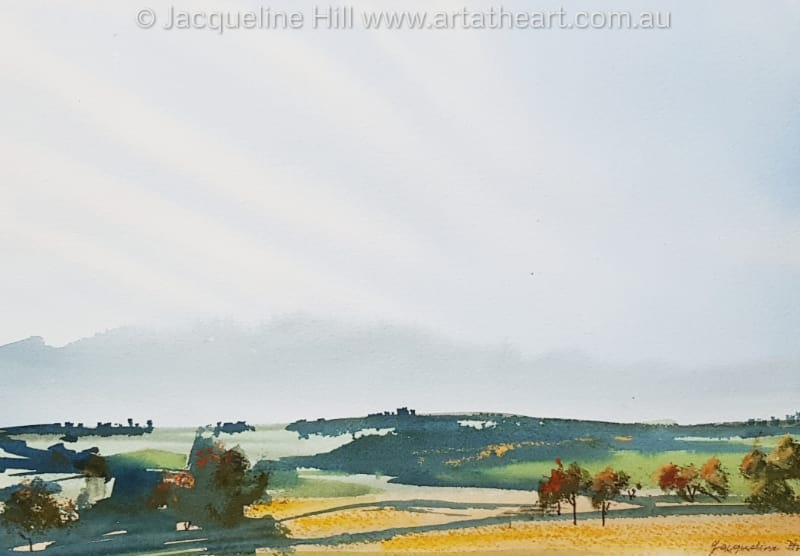 "DA327 ""Golden Fields"" Original Mixed Media Painting (watercolour and pastel) by Jacqueline Hill"