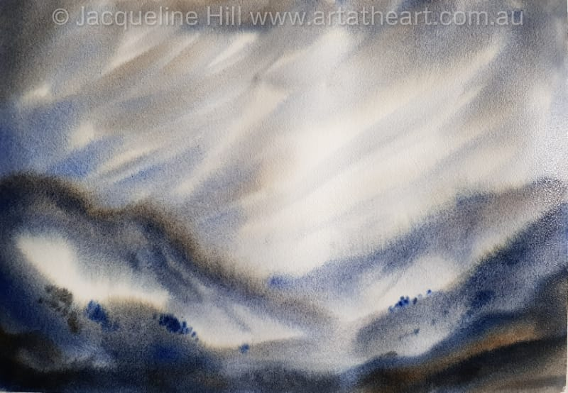 "DA355 ""Sand Wind"" (Eastern style in greys) Original Watercolour Painting by Jacqueline Hill"