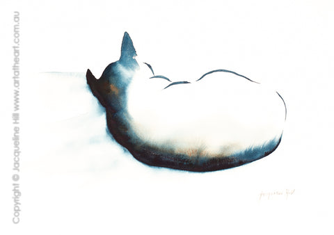 "DA360 ""Cat LXII"" (The Snuggler) Original Watercolour Painting by Jacqueline Hill"