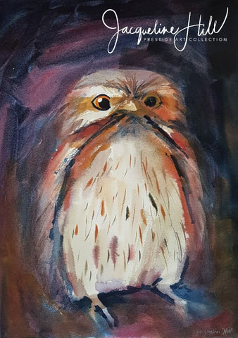 "DA364 ""Frogmouth"" Original Watercolour Painting by Jacqueline Hill"
