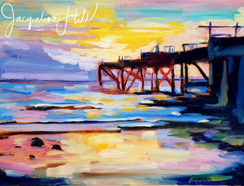 "DA365 ""Jetty in Gold"" Original Oil Painting by Jacqueline Hill"