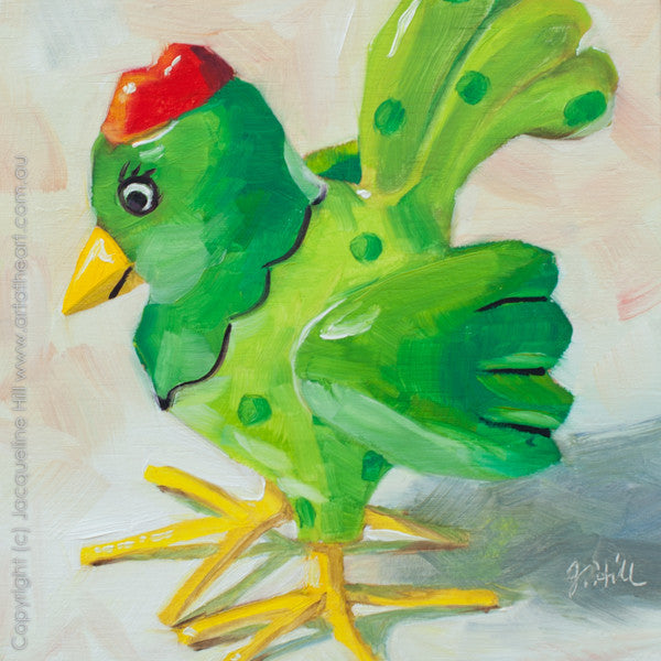 "DP008 ""Chicken Little"" Original Oil on Panel Painting by Jacqueline Hill"