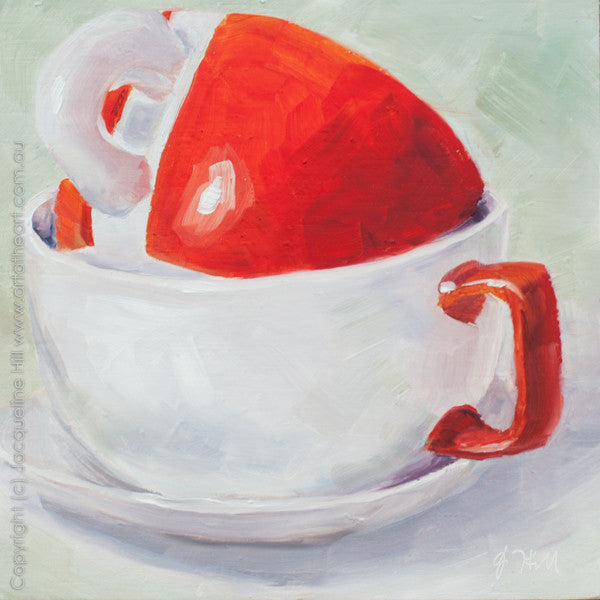 "DP011 ""A Cuddle of Cups"" Original Oil on Panel Painting by Jacqueline Hill"