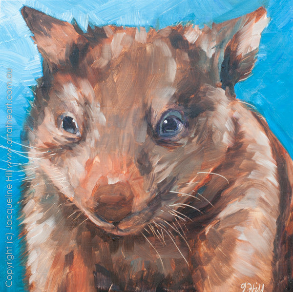 "DP012 ""Baby Wombat"" Original Oil on Panel Painting by Jacqueline Hill"