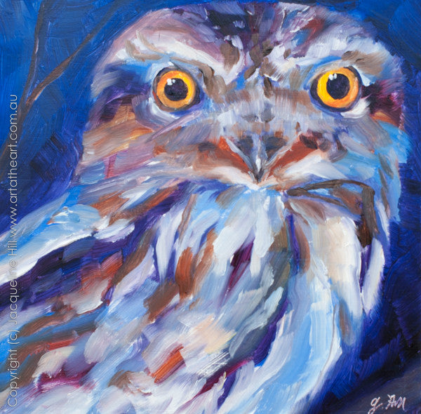 "DP018 ""Tawny Frogmouth Owl"" Original Oil on Panel Painting by Jacqueline Hill"