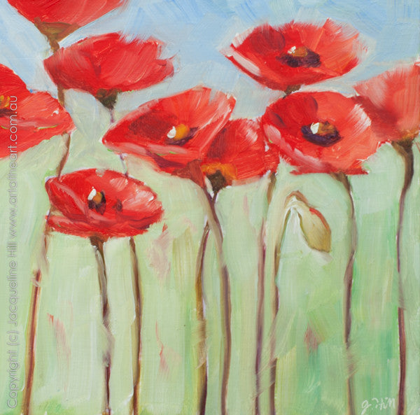 "DP021 ""Poppies"" Original Oil on Panel Painting by Jacqueline Hill"