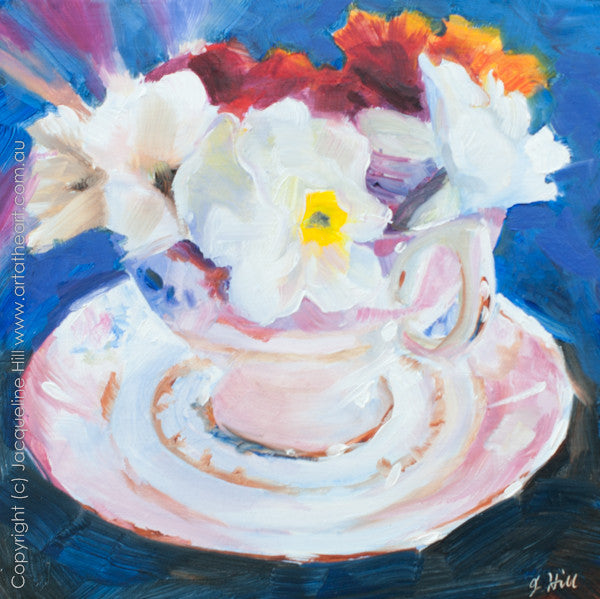 "DP024 ""Lindy's Flowers"" Original Oil on Panel Painting by Jacqueline Hill"