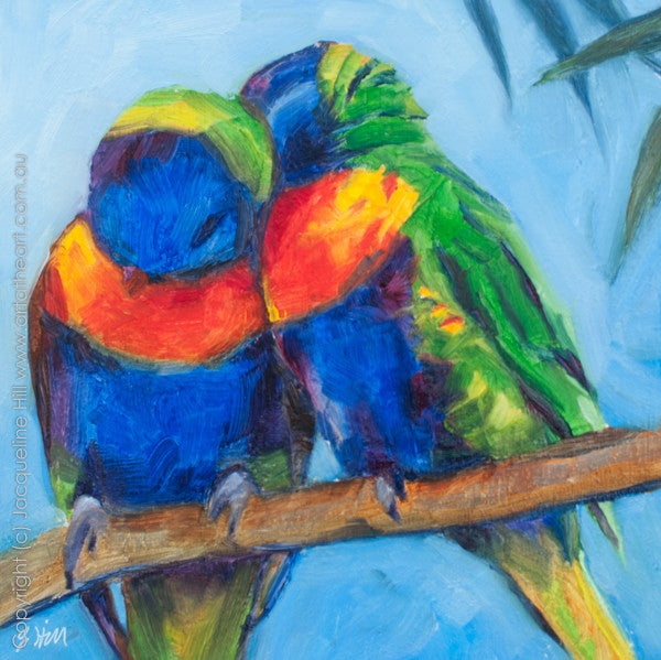 "DP028 ""Rainbow Lovebirds"" Original Oil on Panel Painting by Jacqueline Hill"