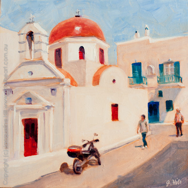 "DP031 ""Afoot in Mykonos"" Original Oil on Panel Painting by Jacqueline Hill"
