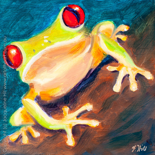 "DP036 ""Frog"" Original Oil on Panel Painting by Jacqueline Hill"
