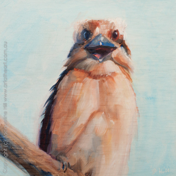 "DP037 ""Kookaburra Laughing"" Original Oil on Panel Painting by Jacqueline Hill"