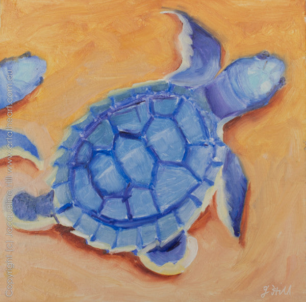 "DP043 ""Baby Turtles Io"" Original Oil on Panel Painting by Jacqueline Hill"