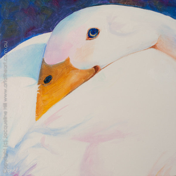 "DP045 ""Feather Down"" Original Oil on Panel Painting by Jacqueline Hill"