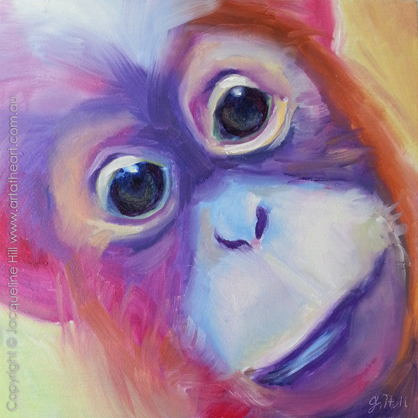 "DP049 ""Monkey Business"" Original Oil on Panel Painting by Jacqueline Hill"