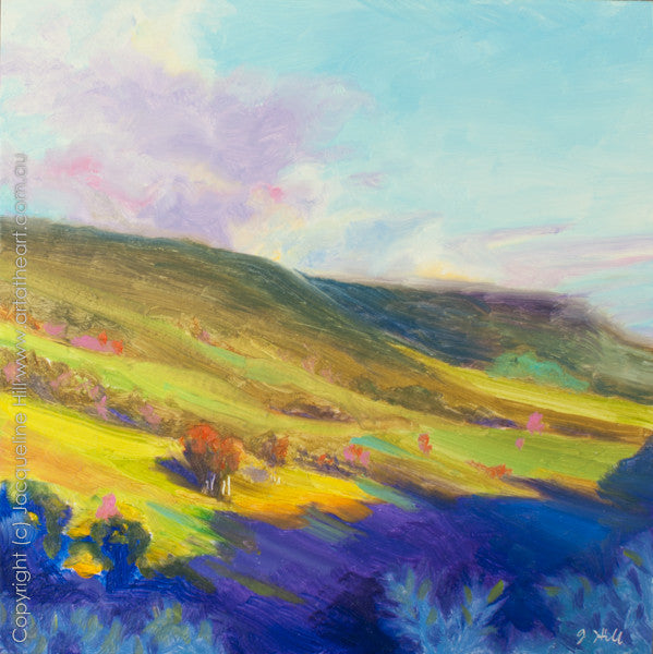 "DP055 ""Shadows on Mt Mee"" Original Oil on Panel Painting by Jacqueline Hill"