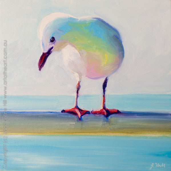 "DP060 ""Seagull"" Original Oil on Panel Painting by Jacqueline Hill"