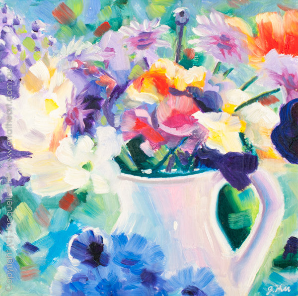 "DP068 ""Joy"" (flowers in a white jug) Original Oil on Panel Painting by Jacqueline Hill"