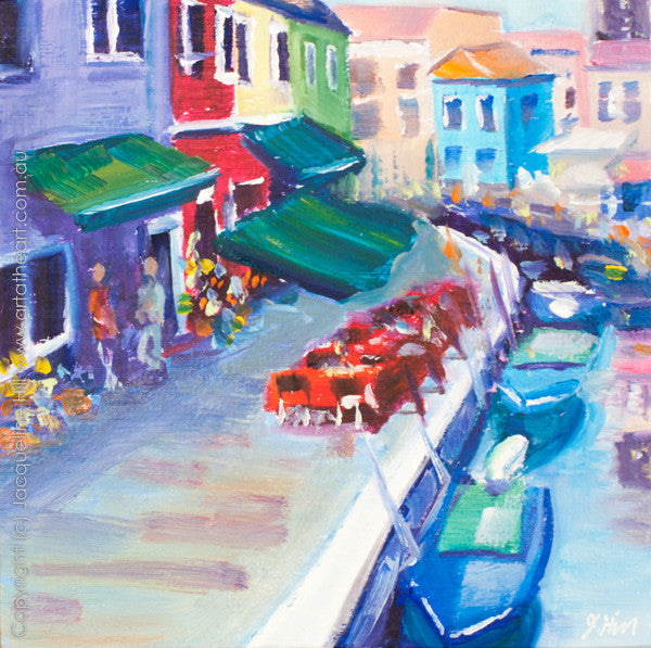 "DP078 ""Burano I"" Original Oil on Panel Painting by Jacqueline Hill"