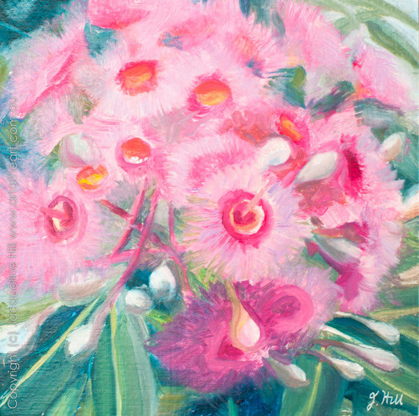 "DP080 ""Pink Fireworks"" Original Oil on Panel Painting by Jacqueline Hill"