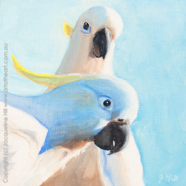 "DP092 ""Cockatoos "" Original Oil on Panel Painting by Jacqueline Hill"