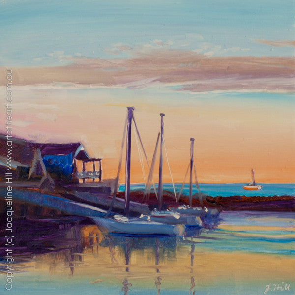 "DP098 ""North Haven Sunset"" Original Oil on Panel Painting by Jacqueline Hill"