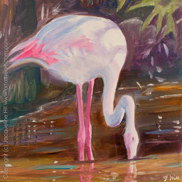 "DP101 ""Flamingo"" Original Oil on Panel Painting by Jacqueline Hill"