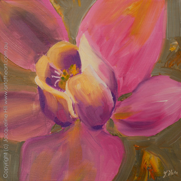 "DP107 ""Pink Narcissus"" Original Oil on Panel Painting by Jacqueline Hill"