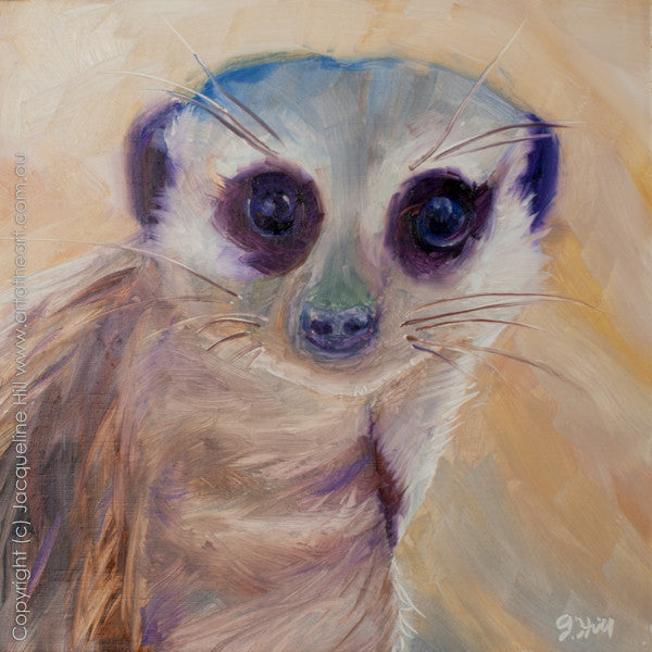 "DP111 ""Meerkat"" Original Oil on Panel Painting by Jacqueline Hill"