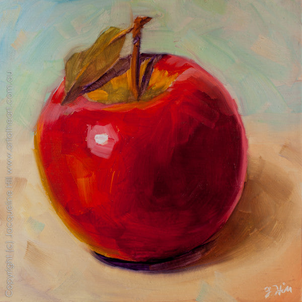 "DP112 ""Apple for the Teacher"" Original Oil on Panel Painting by Jacqueline Hill"