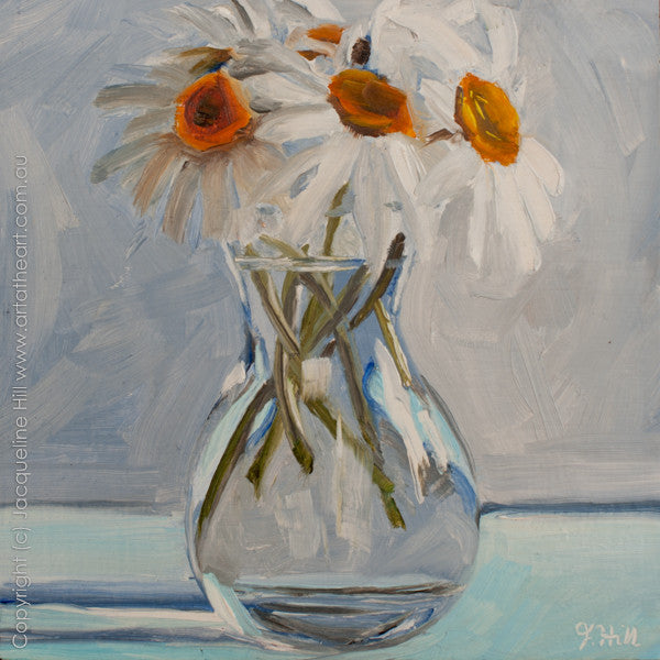 "DP116 ""Daisies in a Glass Vase"" Original Oil on Panel Painting by Jacqueline Hill"