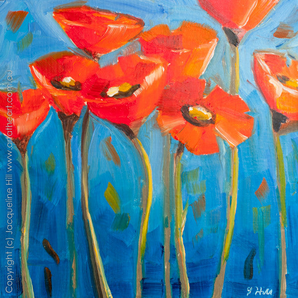 "DP120 ""Poppies IIo"" Original Oil on Panel Painting by Jacqueline Hill"