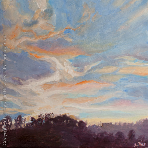 "DP127 ""Sky on Fire IIo"" Original Oil on Panel Painting by Jacqueline Hill"
