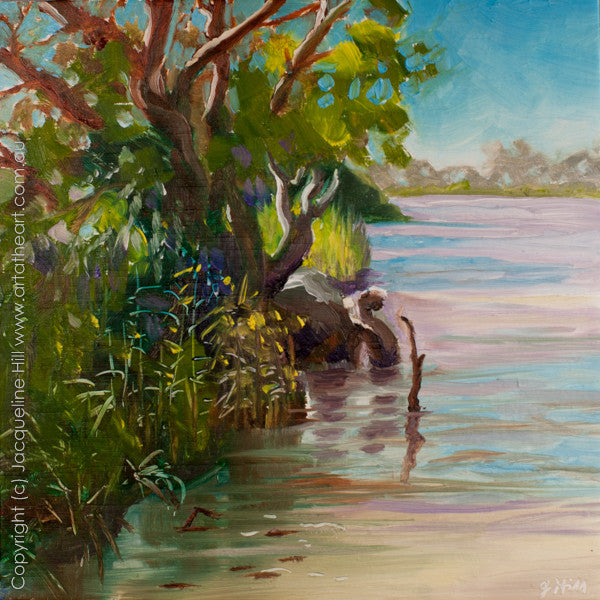 "DP133 ""Riverside"" Original Oil on Panel Painting by Jacqueline Hill"